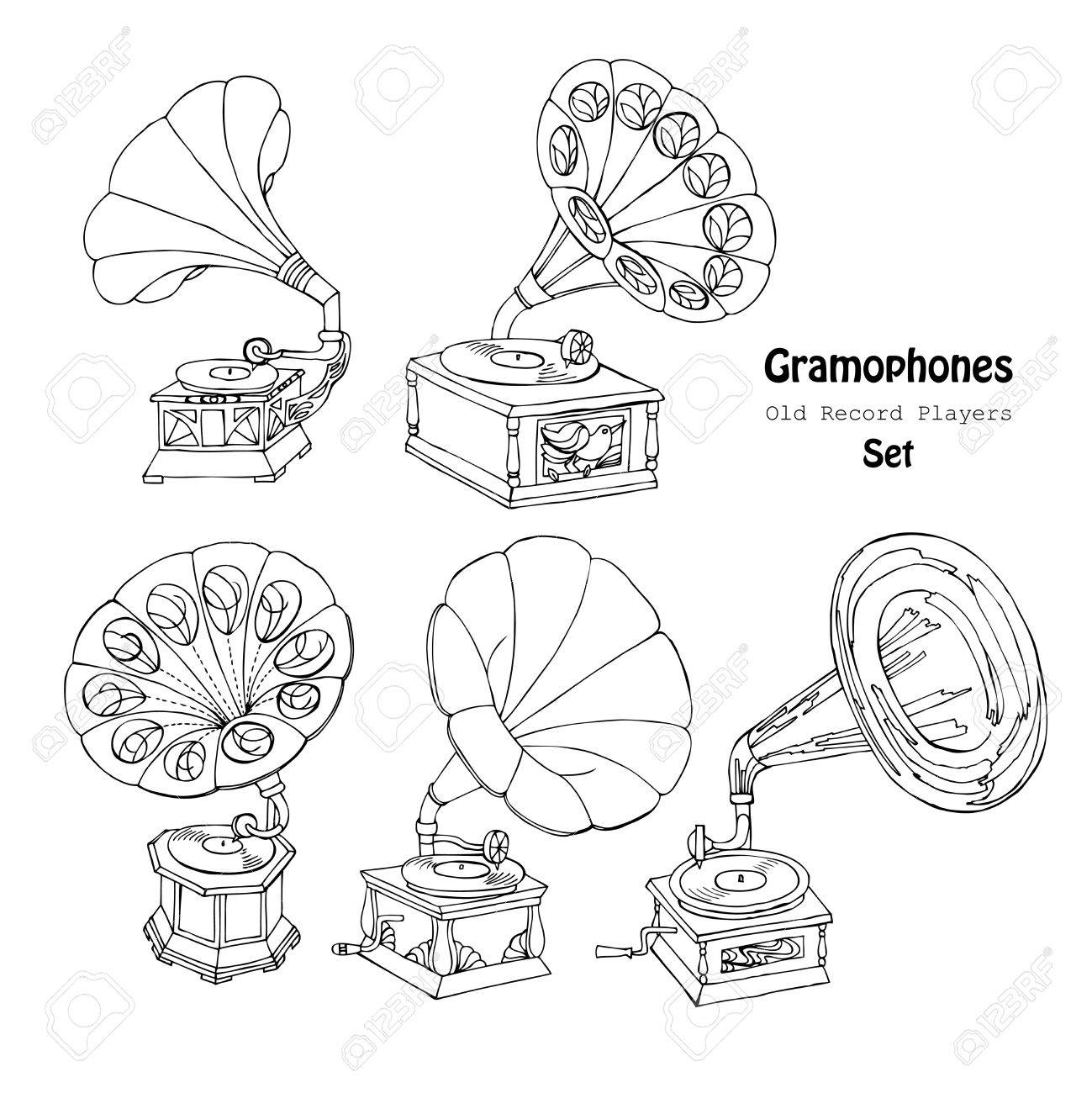 Hand drawn sketches old record player vector music illustration stock vector
