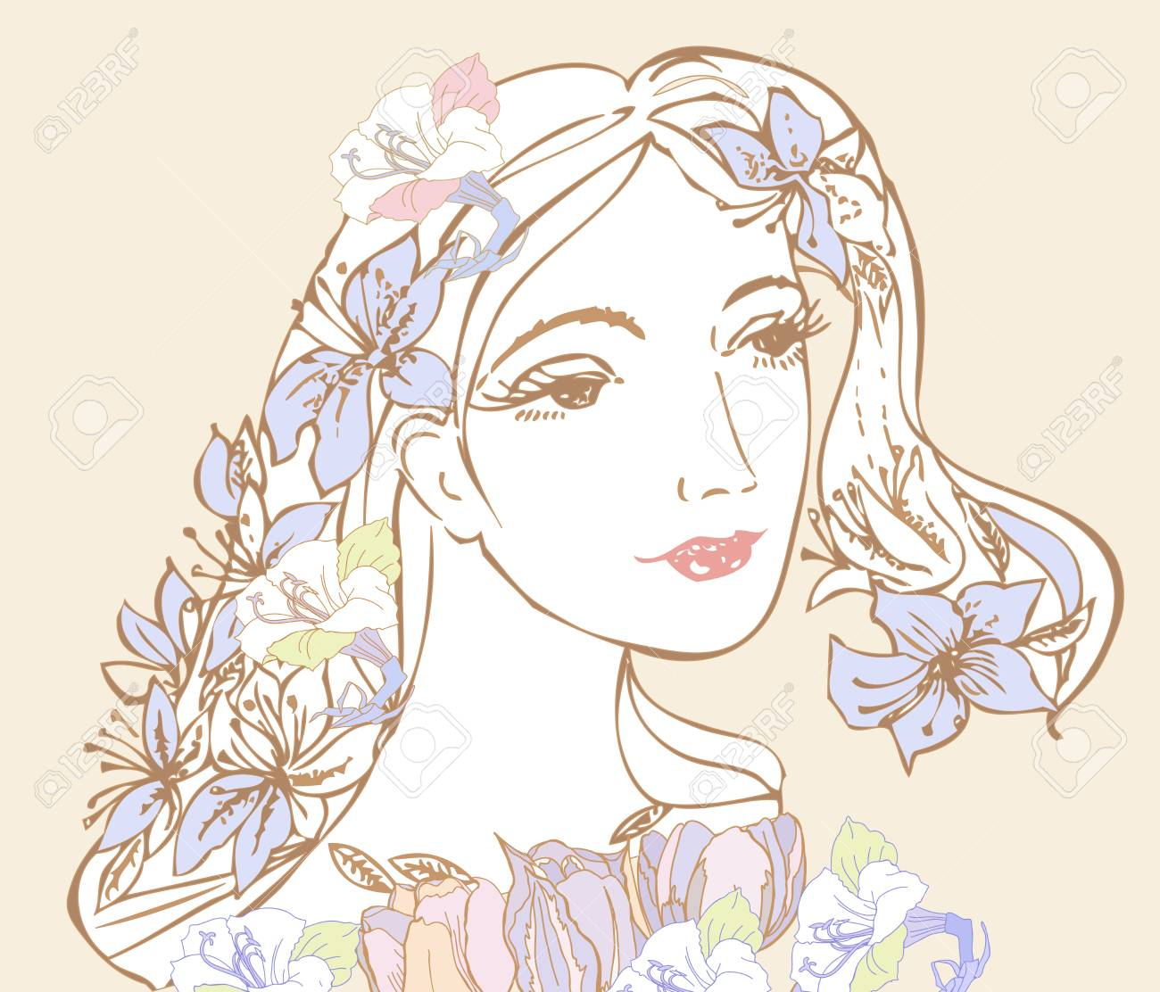 Drawing Of A Woman In Black And White With Blue Pretty Flowers