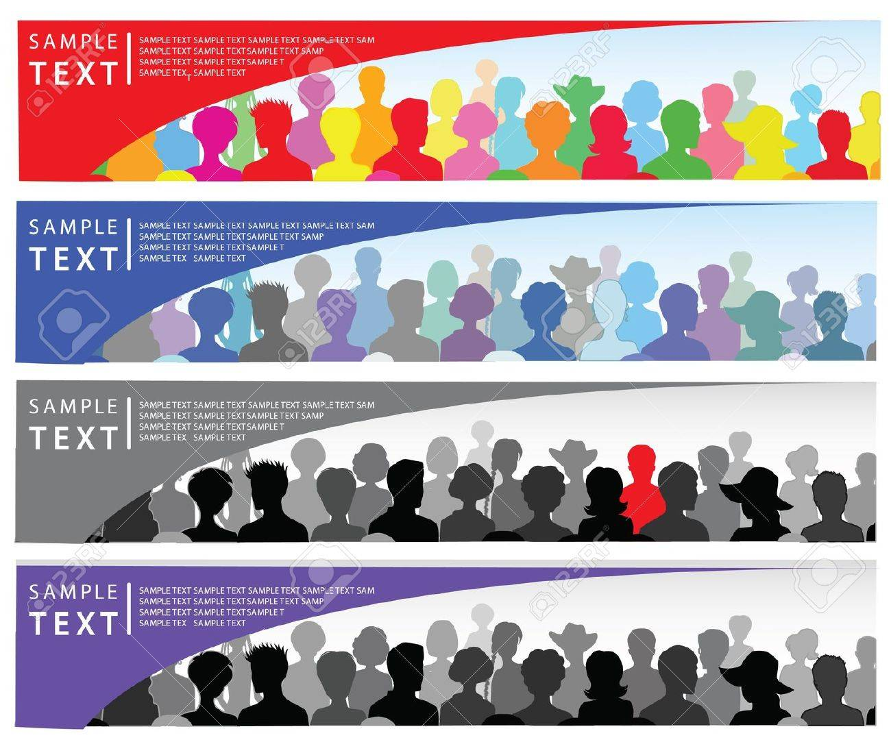 Set of banners with crowd and place for text - 10274659