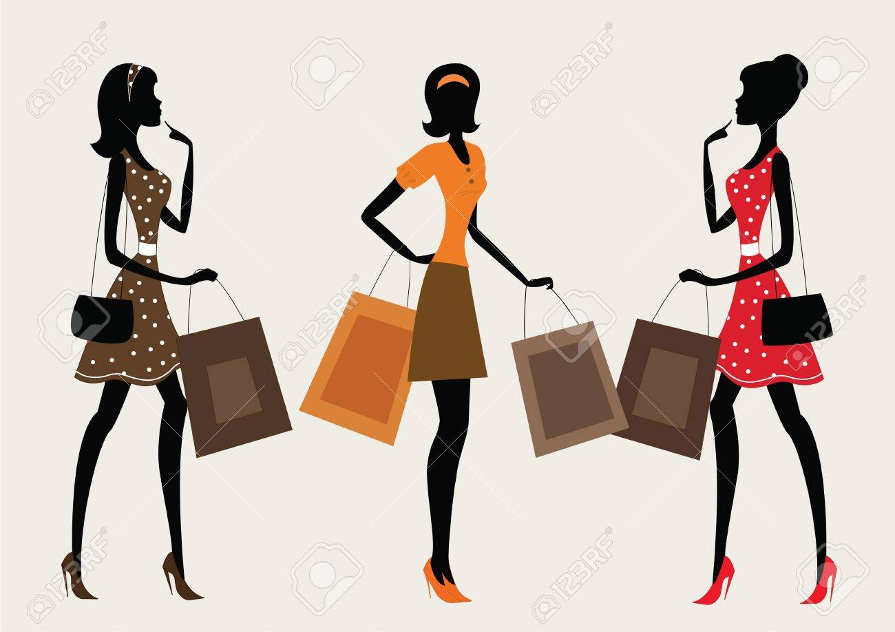 Three silhouettes of a women shopping, vintage style - 11548736