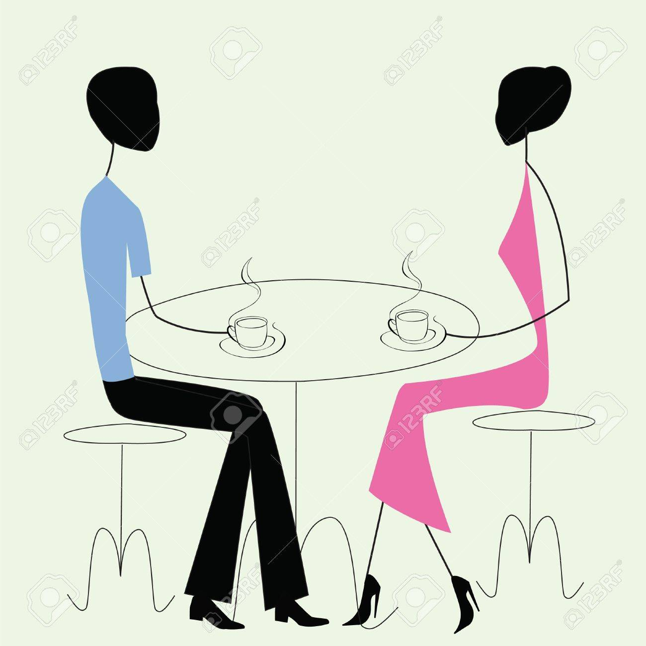 man and woman in a cafe, vintage style Stock Vector - 11862700