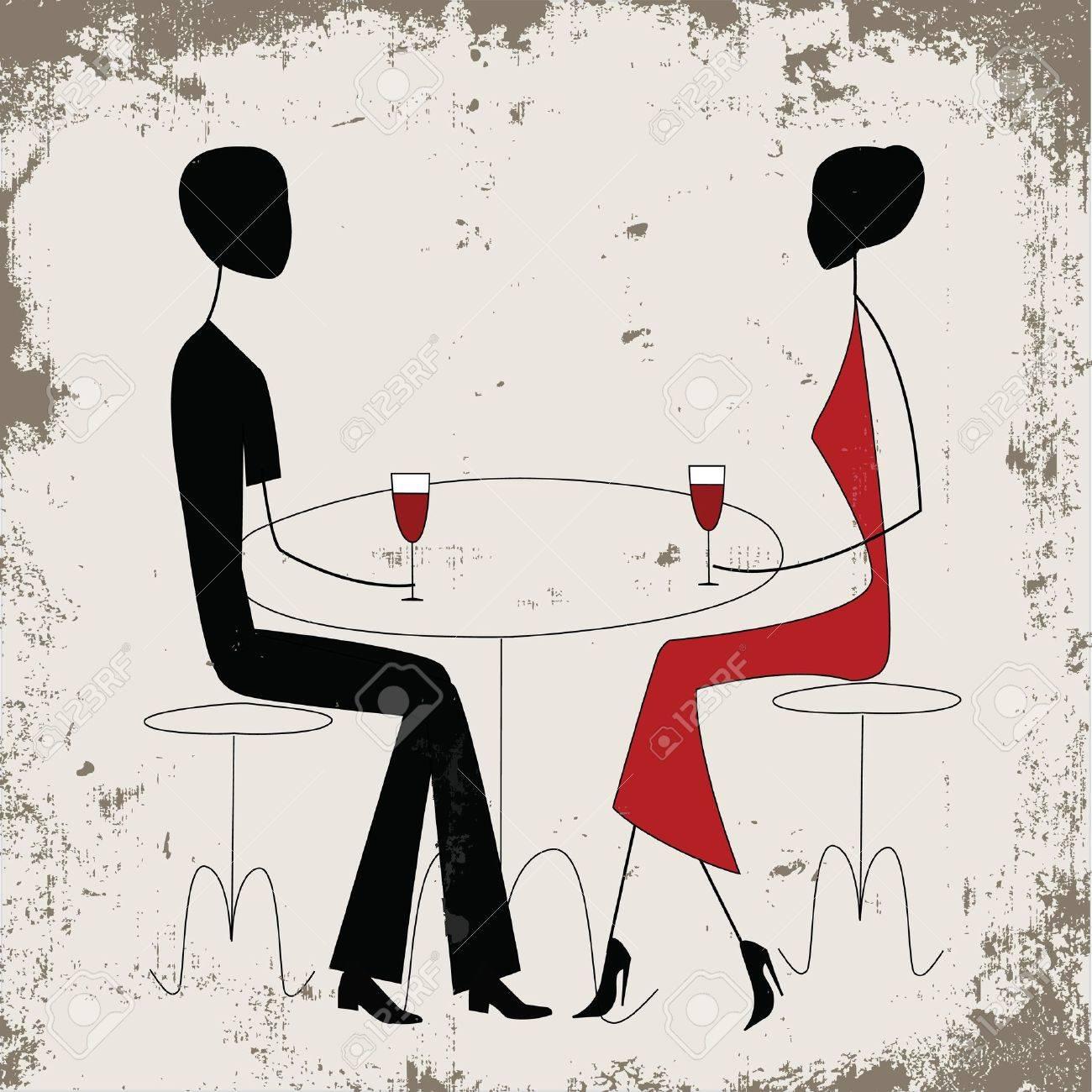 Hombre o mujer anuncio en un restaurante, de estilo vintage Foto de archivo - 12495024