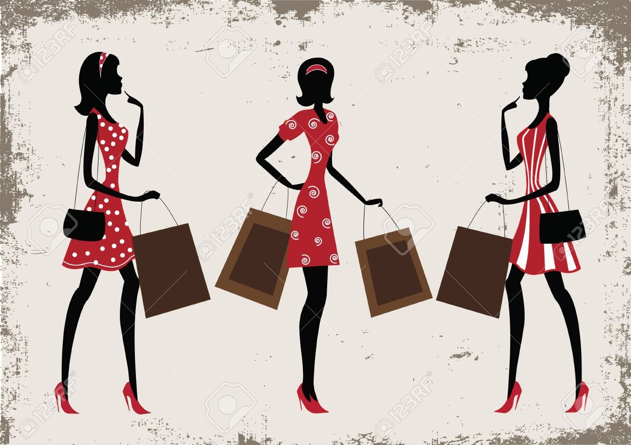 Silhouettes of a women shopping, vintage style - 13281778
