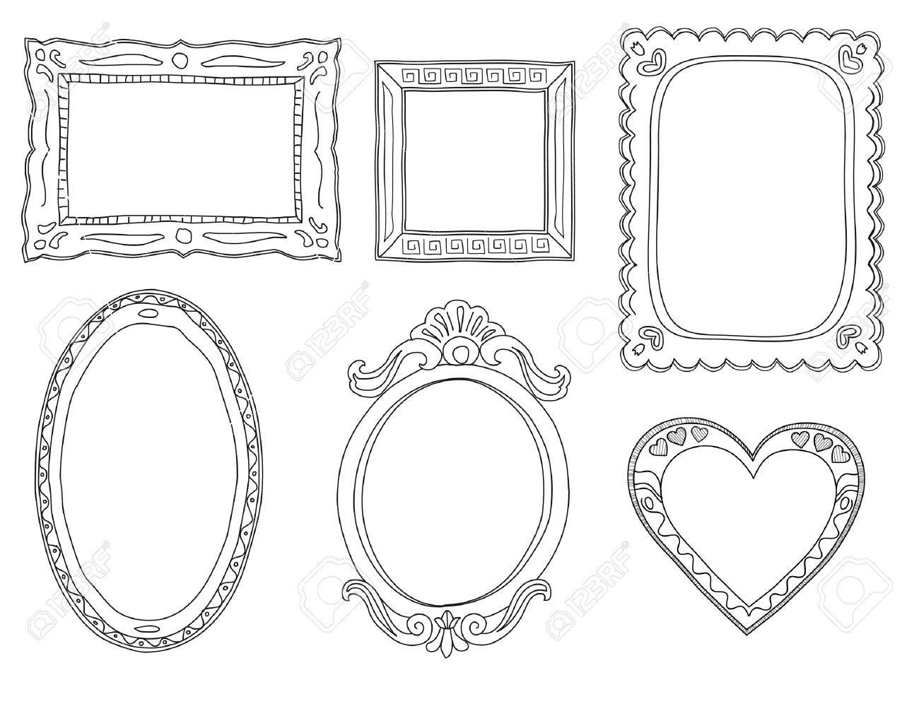 Set of hand-drawn doodle frames - 15305657