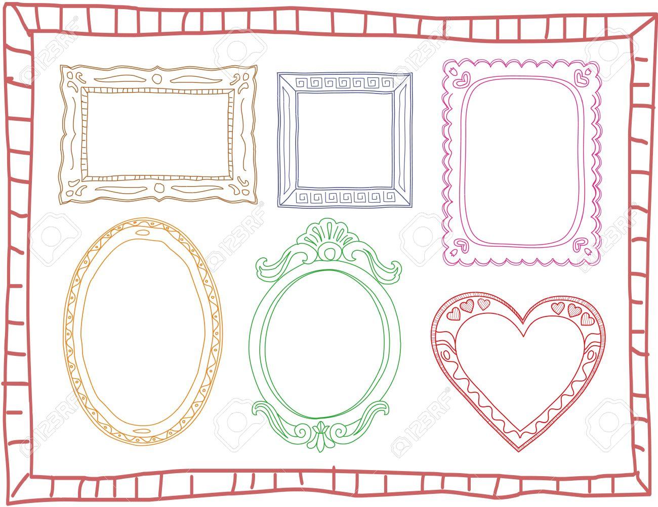 Set of hand-drawn colorful doodle frames - 15305658