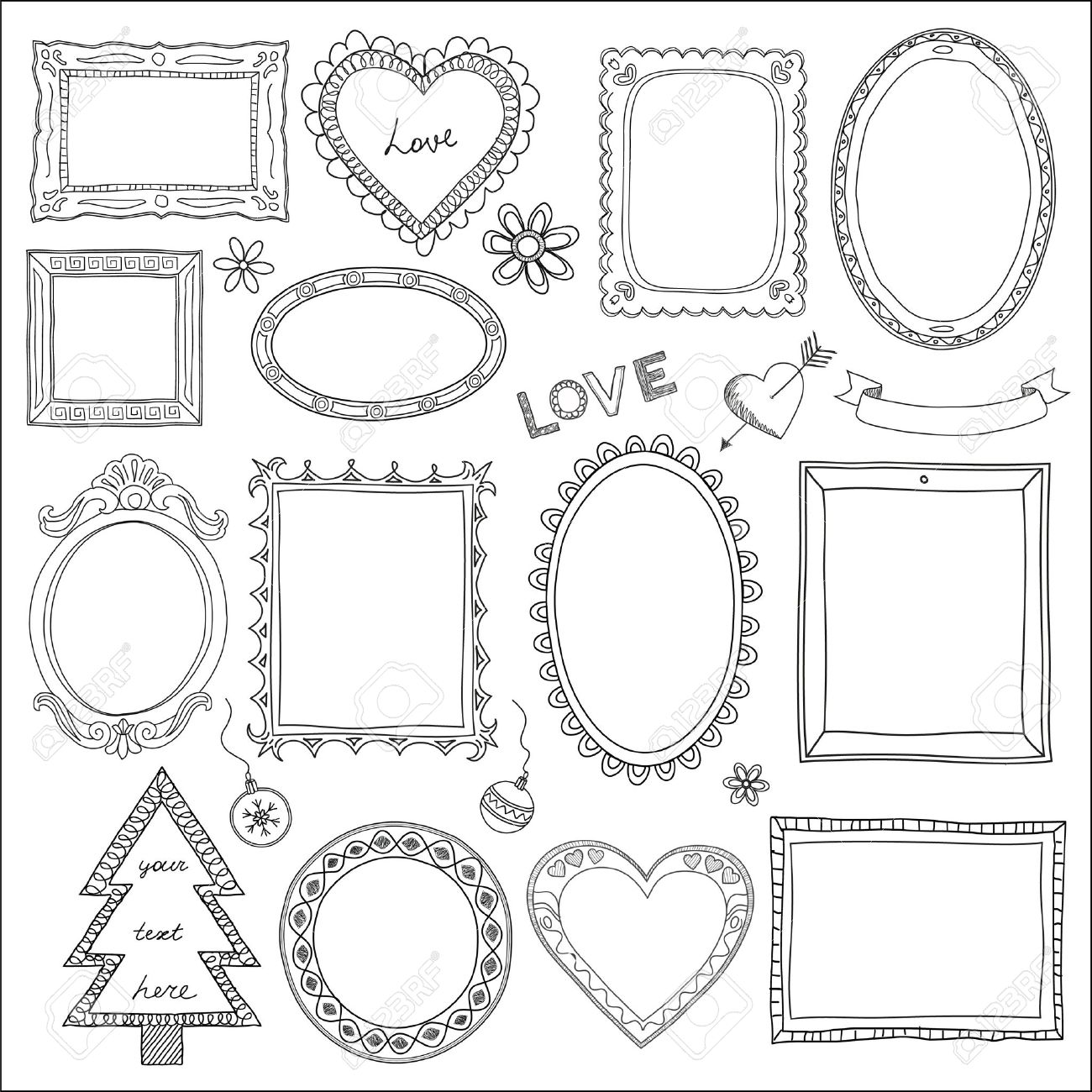 Set of doodle frames and different elements - 17596812