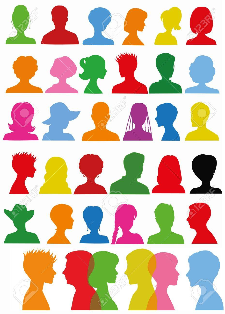 Colorful head silhouettes - 17596808