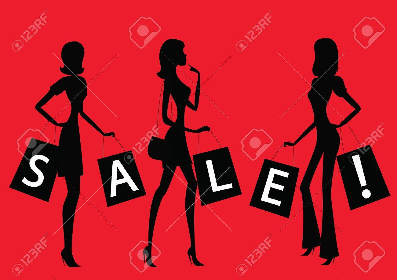 Women shopping with word SALE on their bags - 18153396