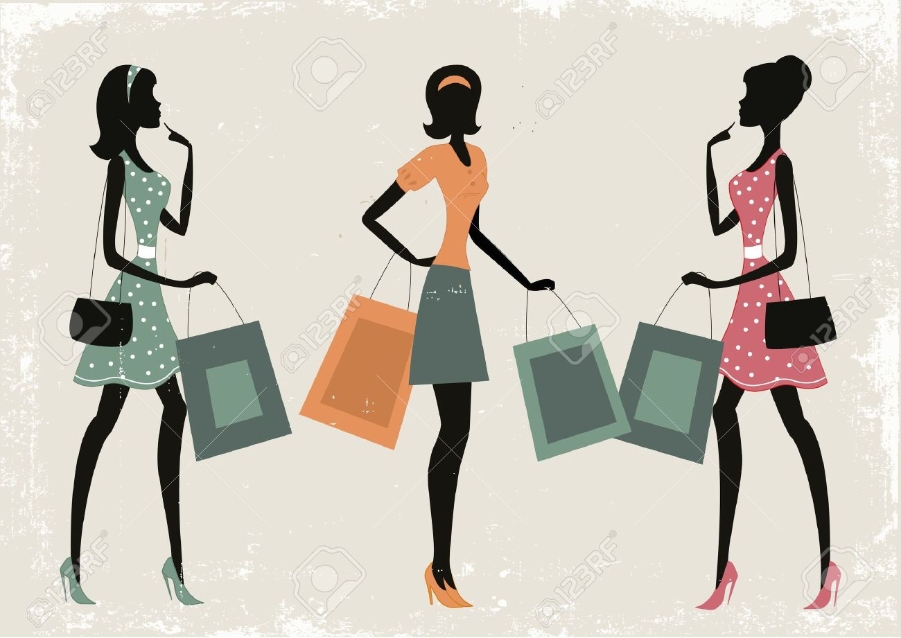 Silhouettes of women shopping on a retro grunge background Stock Vector - 18269247