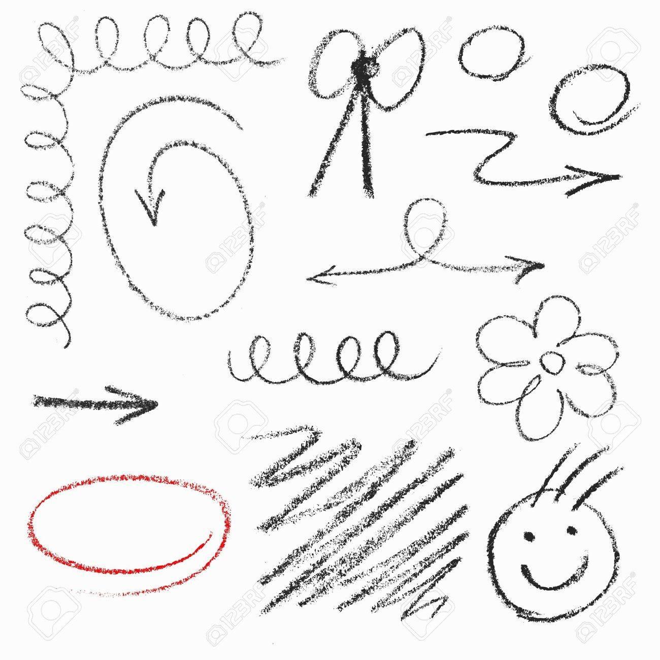 Set of hand drawn pastel elements. - 21998576