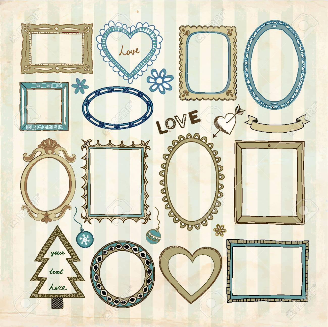 Set of doodle frames and other elements on a vintage background. The pattern with stripes (without transparent layer and grunge frame) is seamless. - 22033845