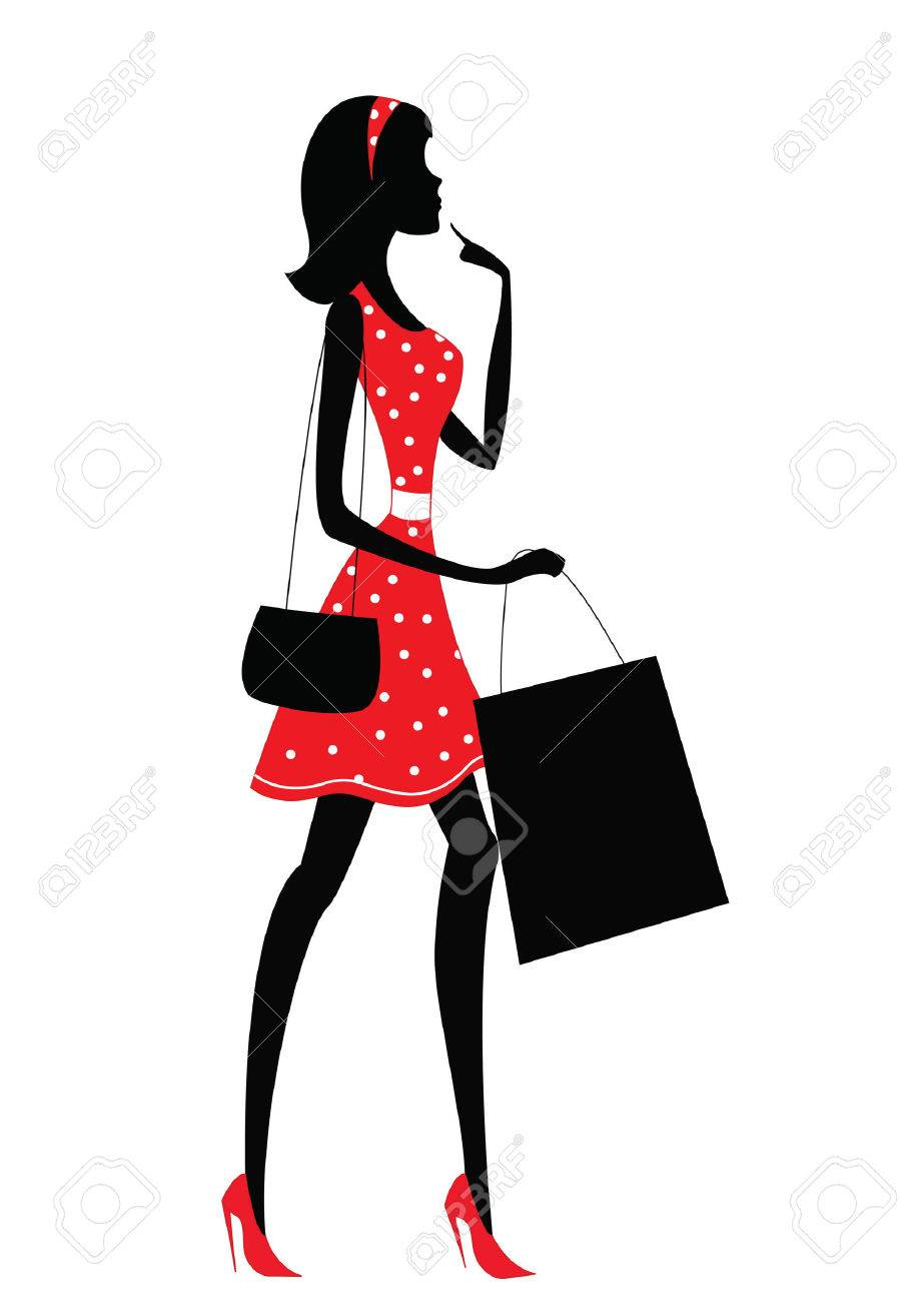 72932126ed67 Silhouette Of A Woman Shopping. Retro Style Royalty Free Cliparts ...