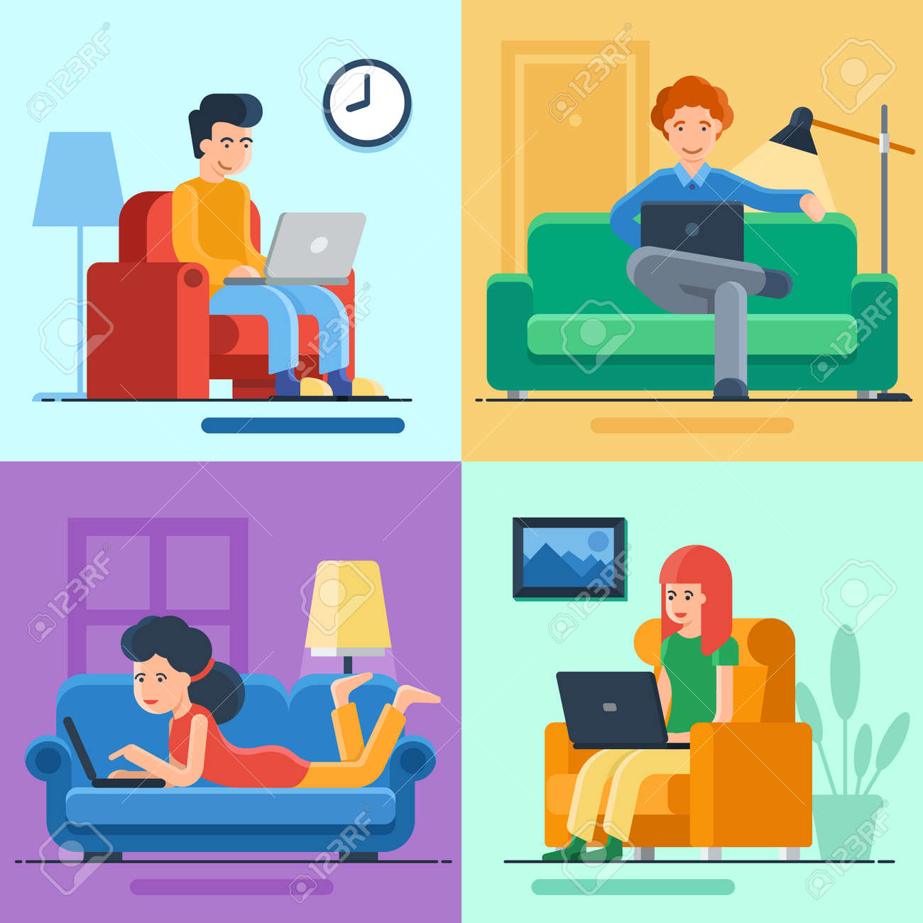 Set of freelance people working at home. Self employment in quarantine. Business character on comfortable workplace. Man ans woman sitting on armchair and lying on sofa with laptop - 153017261