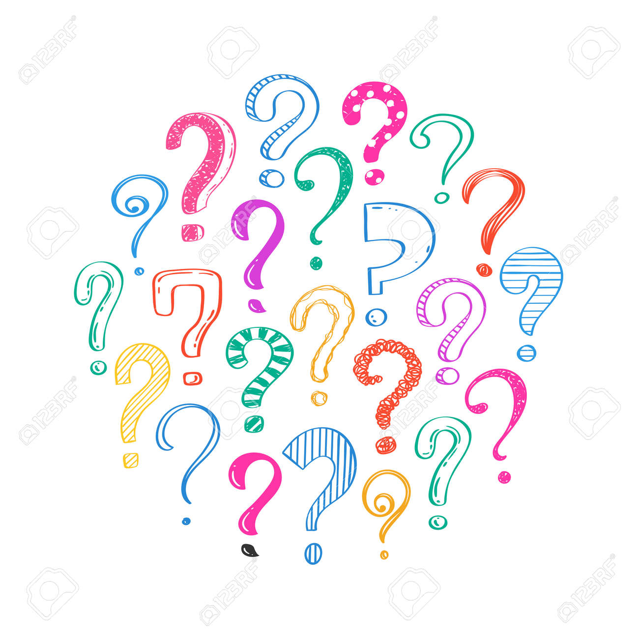 Hand drawn question marks on white background, doodle questions arranged in a circle, vector illustration. - 151018982