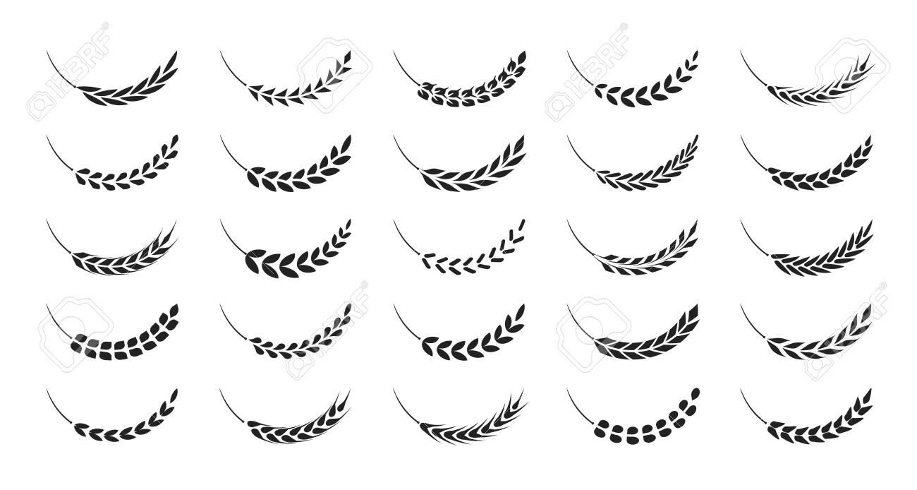 Set of simple wheats ears icons and wheat design elements, organic wheats local farm fresh food, bakery - 152908329
