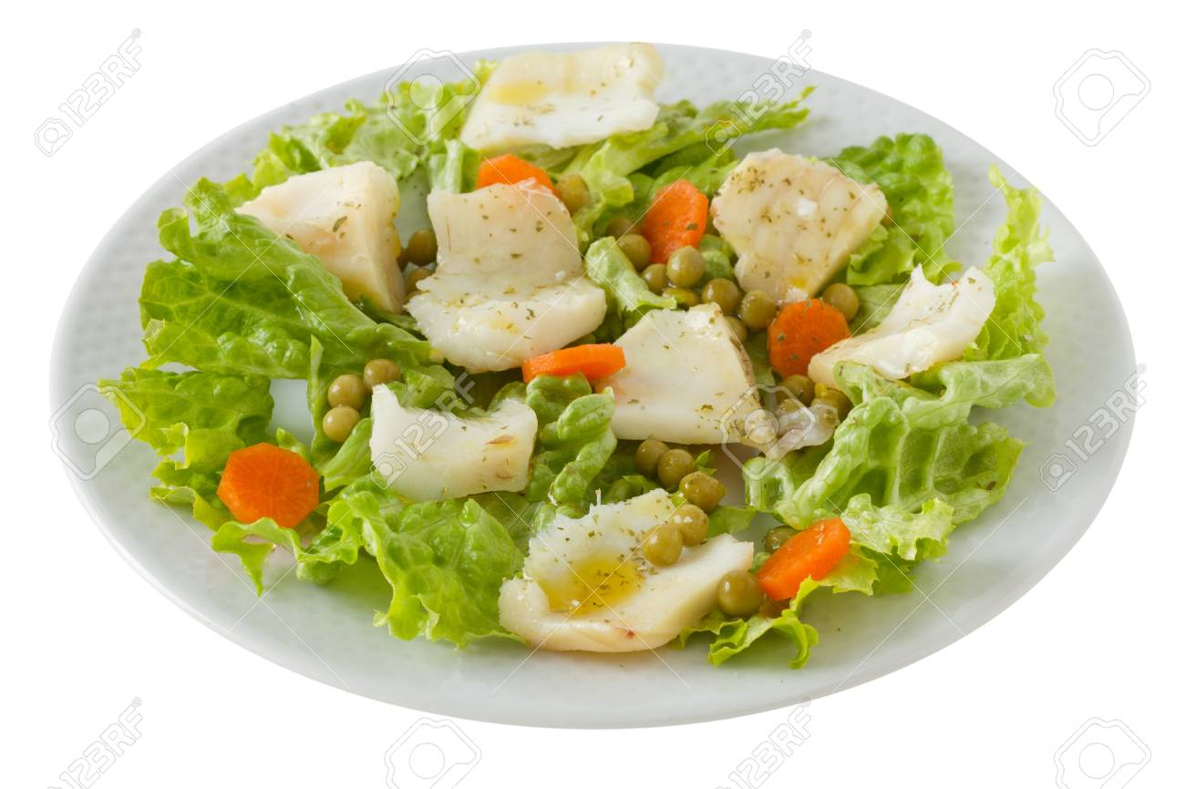 fish salad in the white plate Stock Photo - 12843226