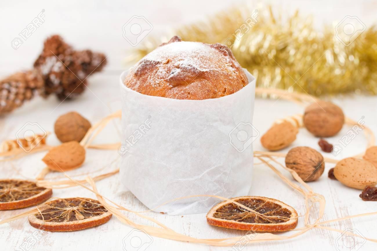 Italian Christmas Dessert On White Wooden Background Stock Photo ...