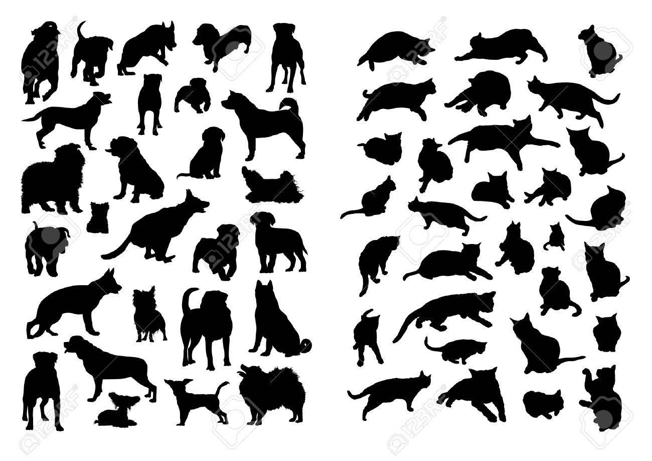 Gatos y perros Siluetas Set Foto de archivo - 38231851