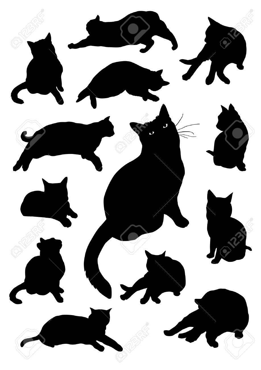 Siluetas de los gatos Foto de archivo - 38231852
