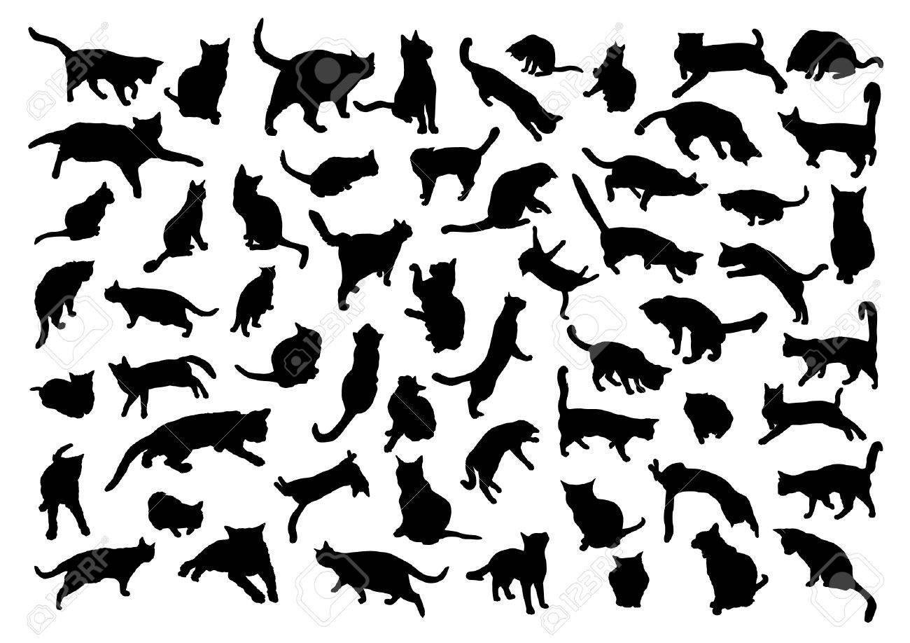 Siluetas de los gatos Foto de archivo - 38231856