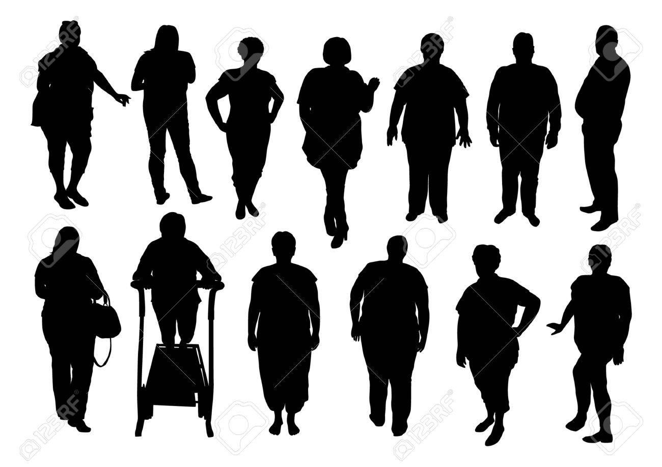 太っている人はシルエットのイラスト ロイヤリティフリークリップアート
