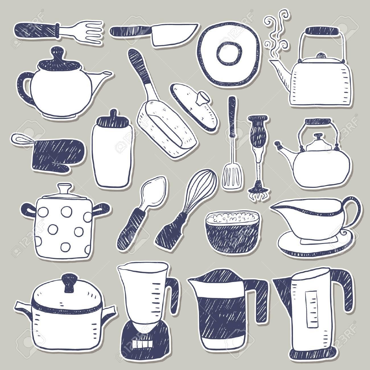 Hand Zeichnen Kuchenutensilien Skizze Aufklebersammlung Lizenzfrei Nutzbare Vektorgrafiken Clip Arts Illustrationen Image 66277612