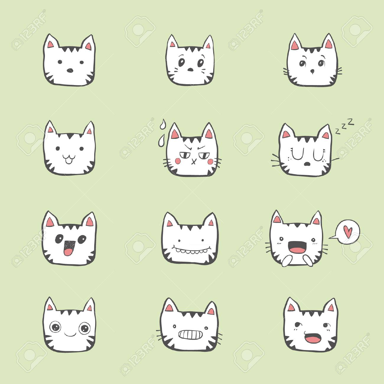 Hand Draw Cat Cute Emotional Faces On Blue Background Royalty Free Cliparts Vectors And Stock Illustration Image 94022217