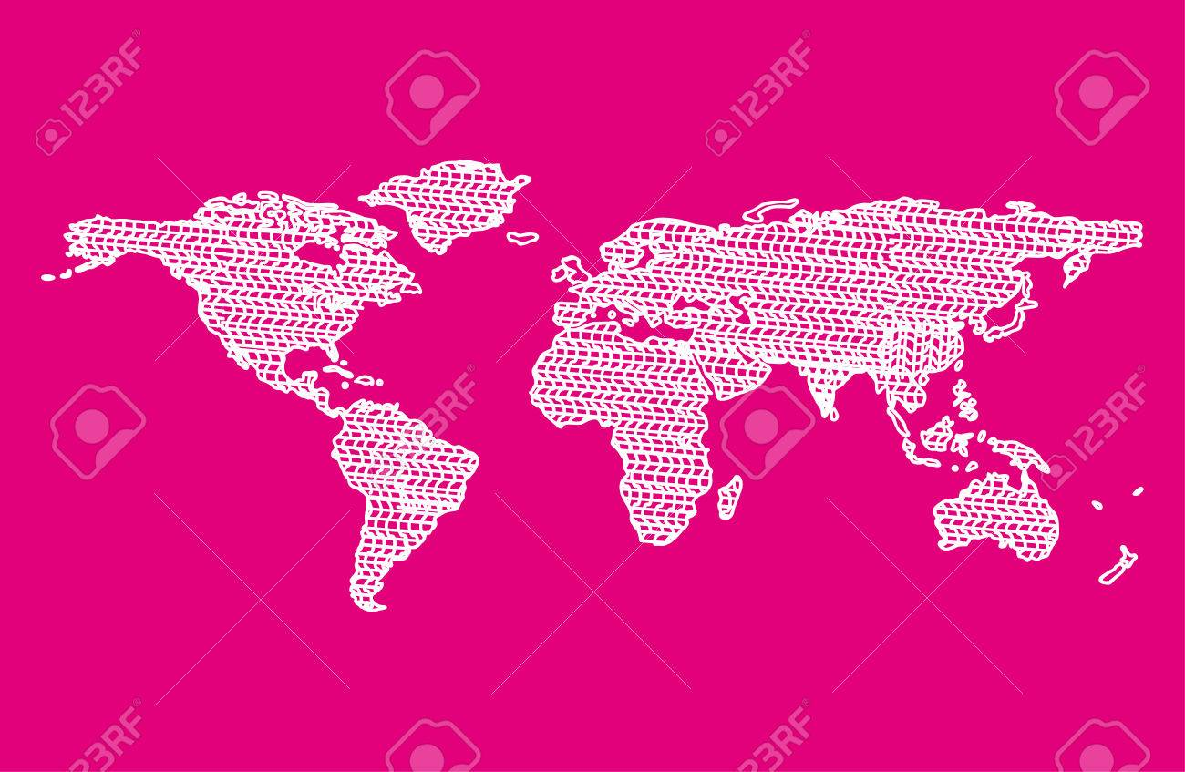 Map World Draw Magenta Background Royalty Free Cliparts, Vectors ...
