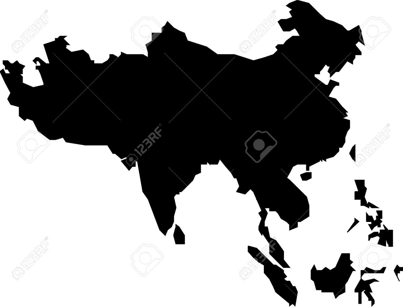 Black Map Of Asia.Map Of Southern Asia Black