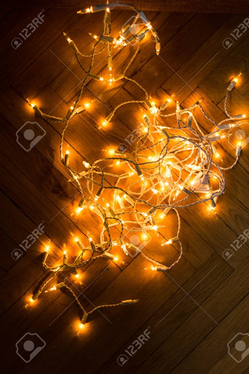 Weihnachtsbeleuchtung Kranz.Stock Photo