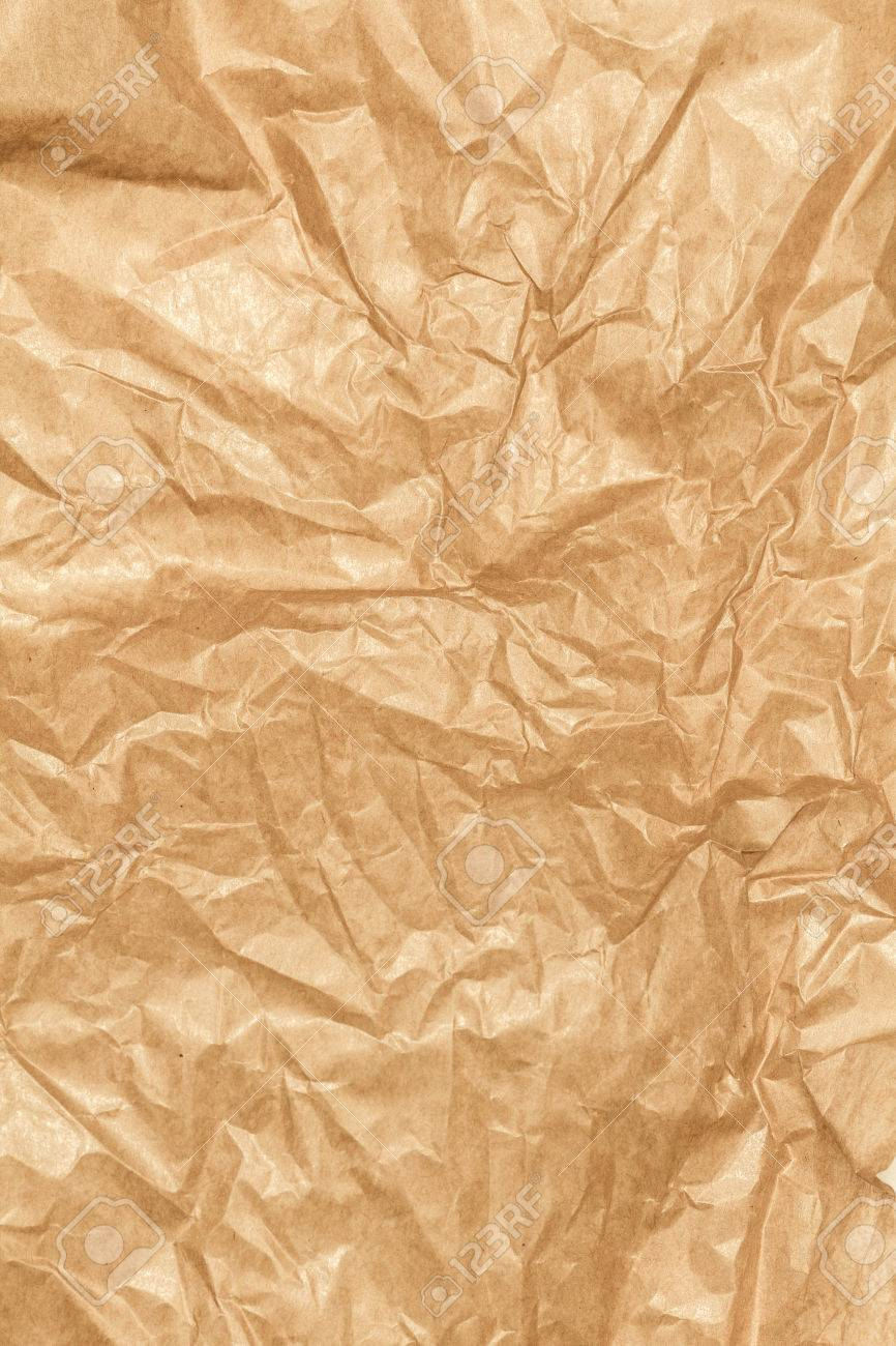 Crumpled Paper Texture Background Craft Paper Sheet Brown Color