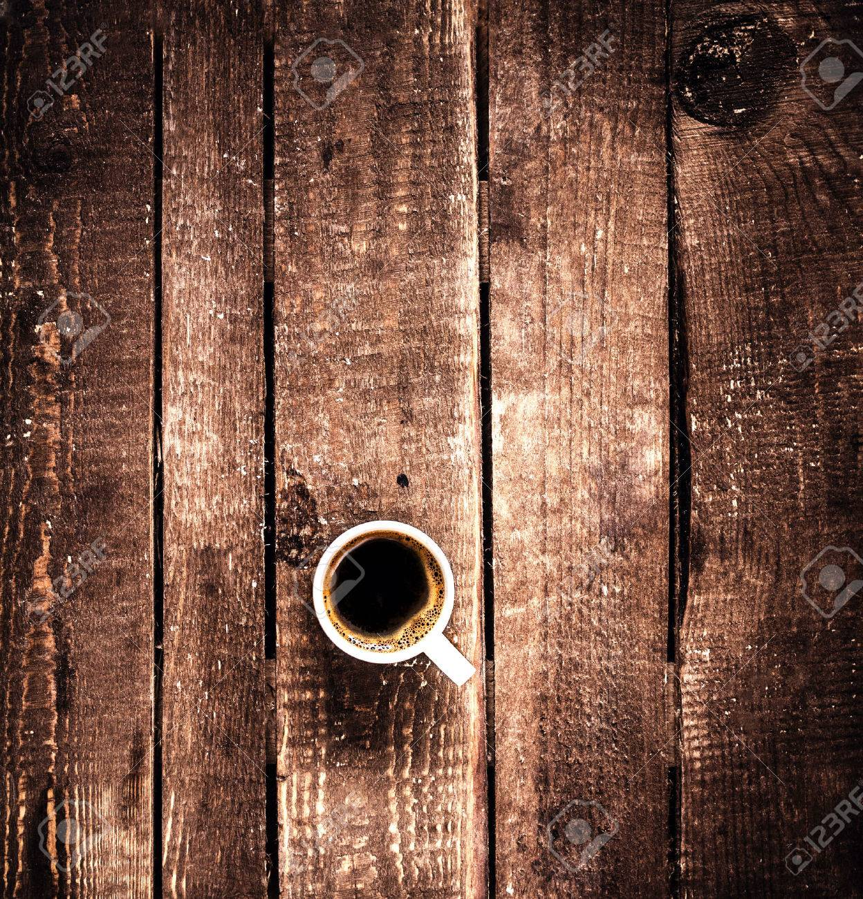 Old wooden table top - Coffee Cup On Old Wooden Background With Copy Space Top View Coffee Espresso