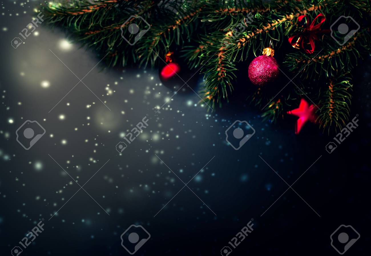Dark Christmas.Dark Christmas Decoration Background Fir Tree Branches On Black