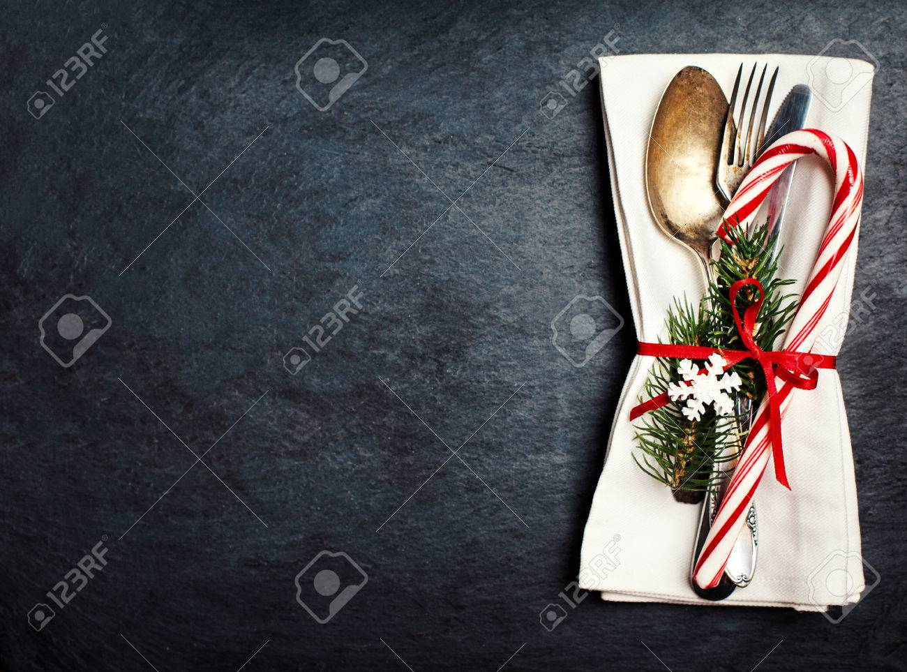 Christmas Table Setting With Festive Decorations On White Tablecloth Stock Photo Picture And Royalty Free Image Image 65327215