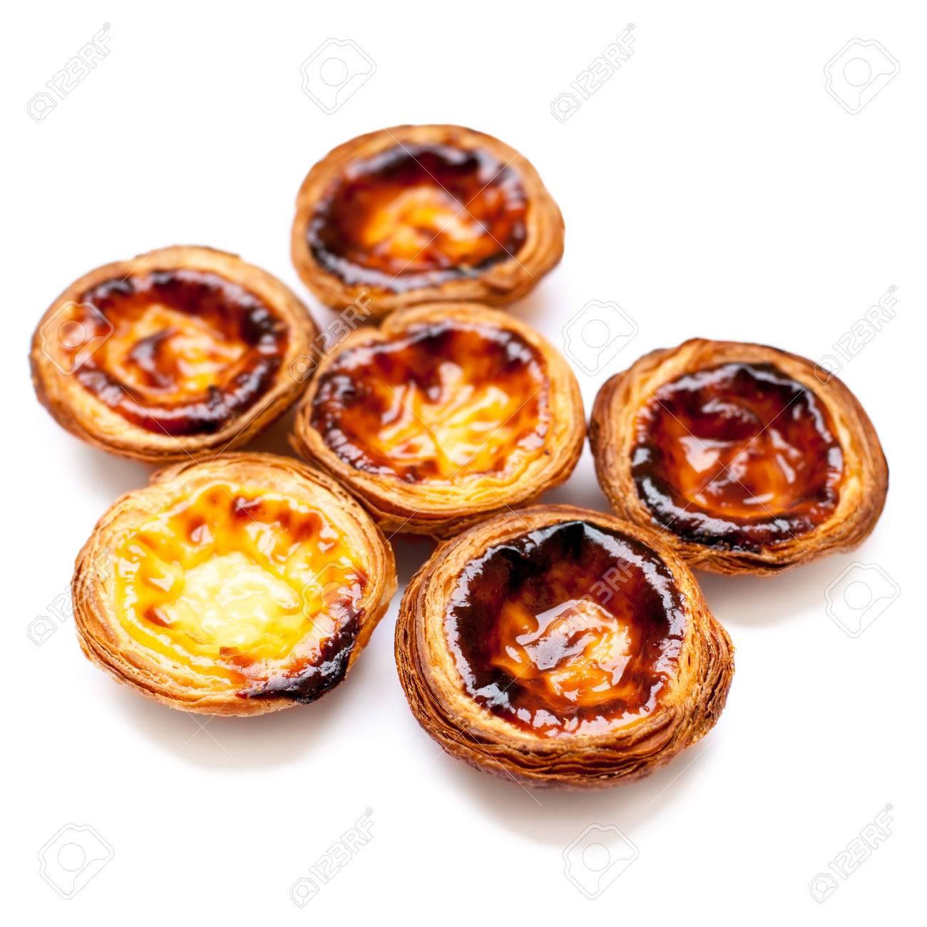 Typische Portugese Die Dessertp Pasteis De Nata Op Witte Dichte