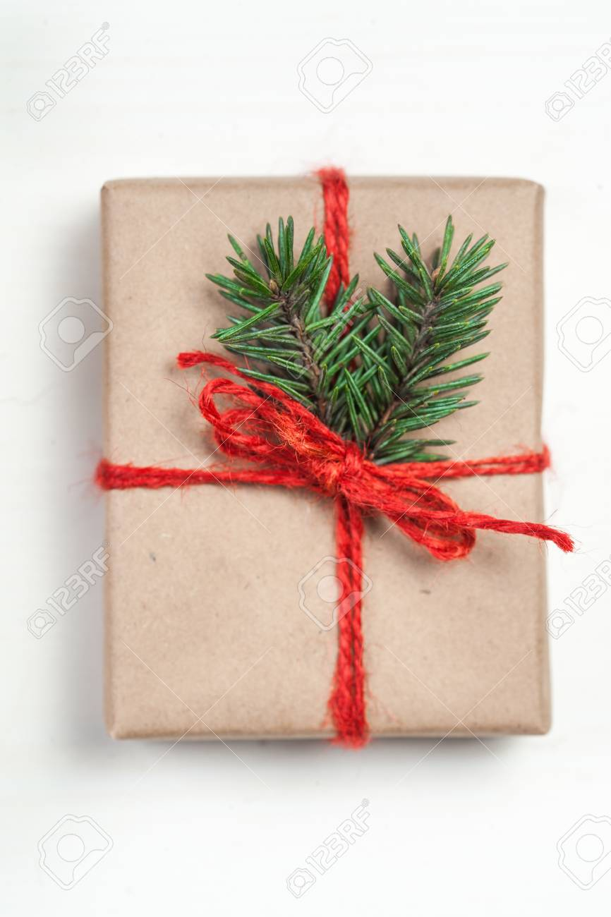 Christmas Gift Box With Xmas Decorations As Greeting Card. Festive ...