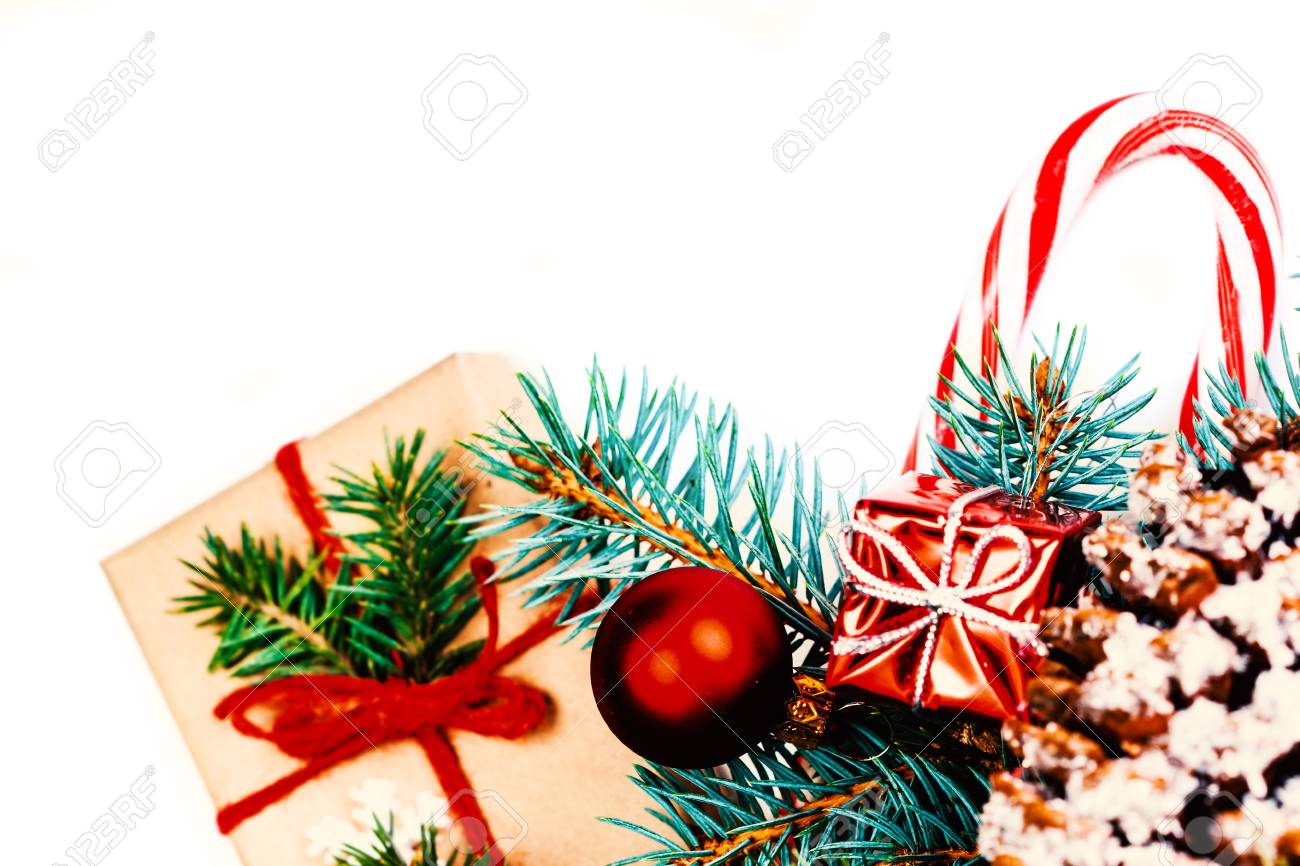 Vintage Christmas Tree Pine Branches And Christmas Decorations Stock Photo Picture And Royalty Free Image Image 88489563