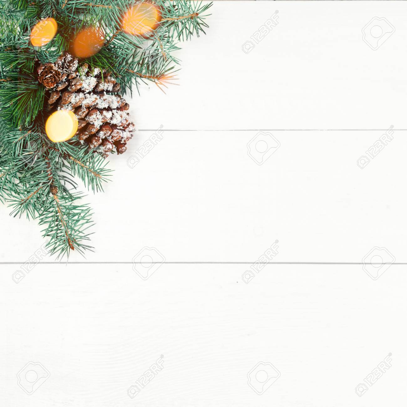 Christmas Tree Frame And Holidays Ornaments With Sparkling Lights