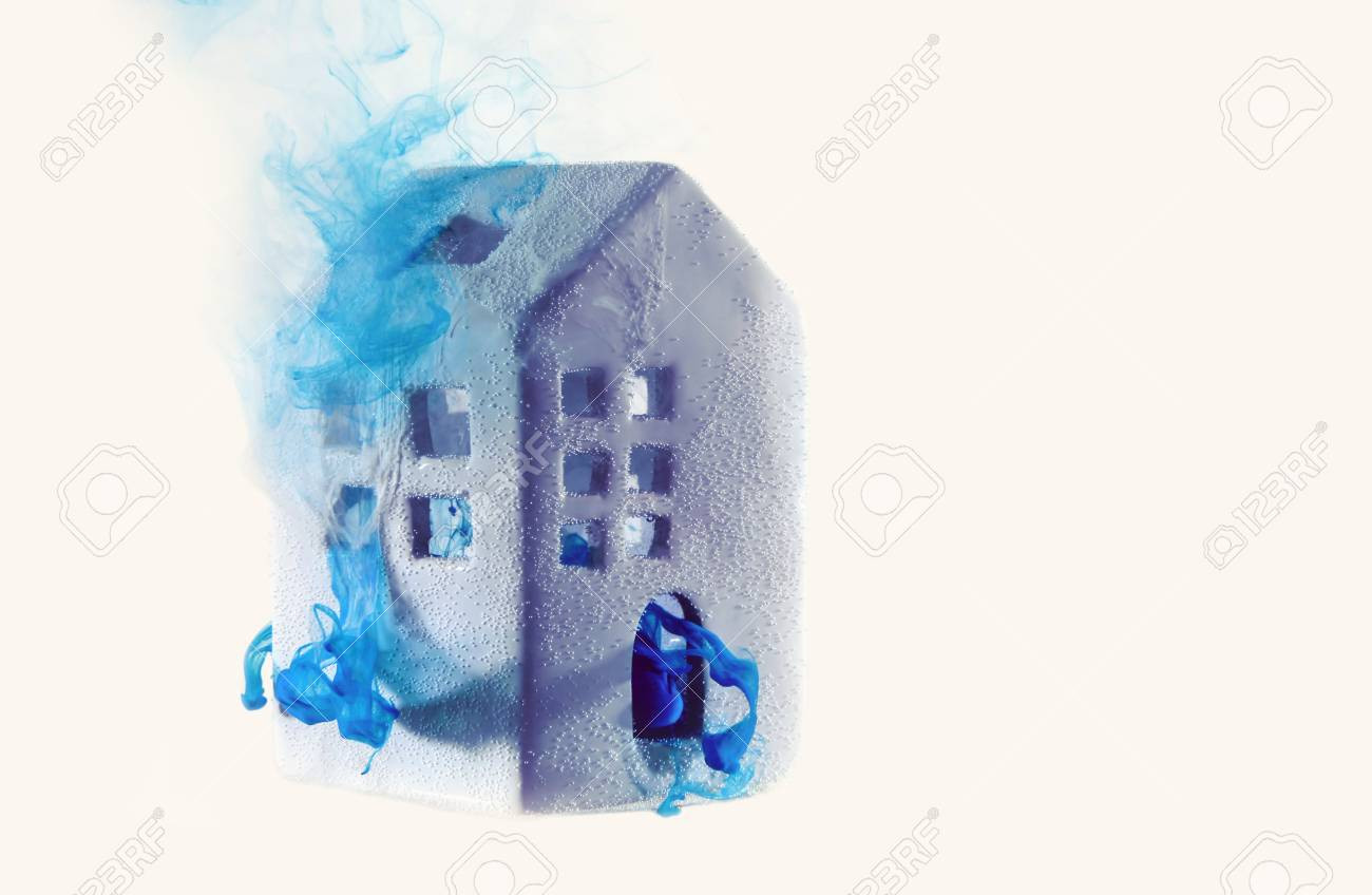Small Ceramic House Under The Water With Blue Acrylic Paints