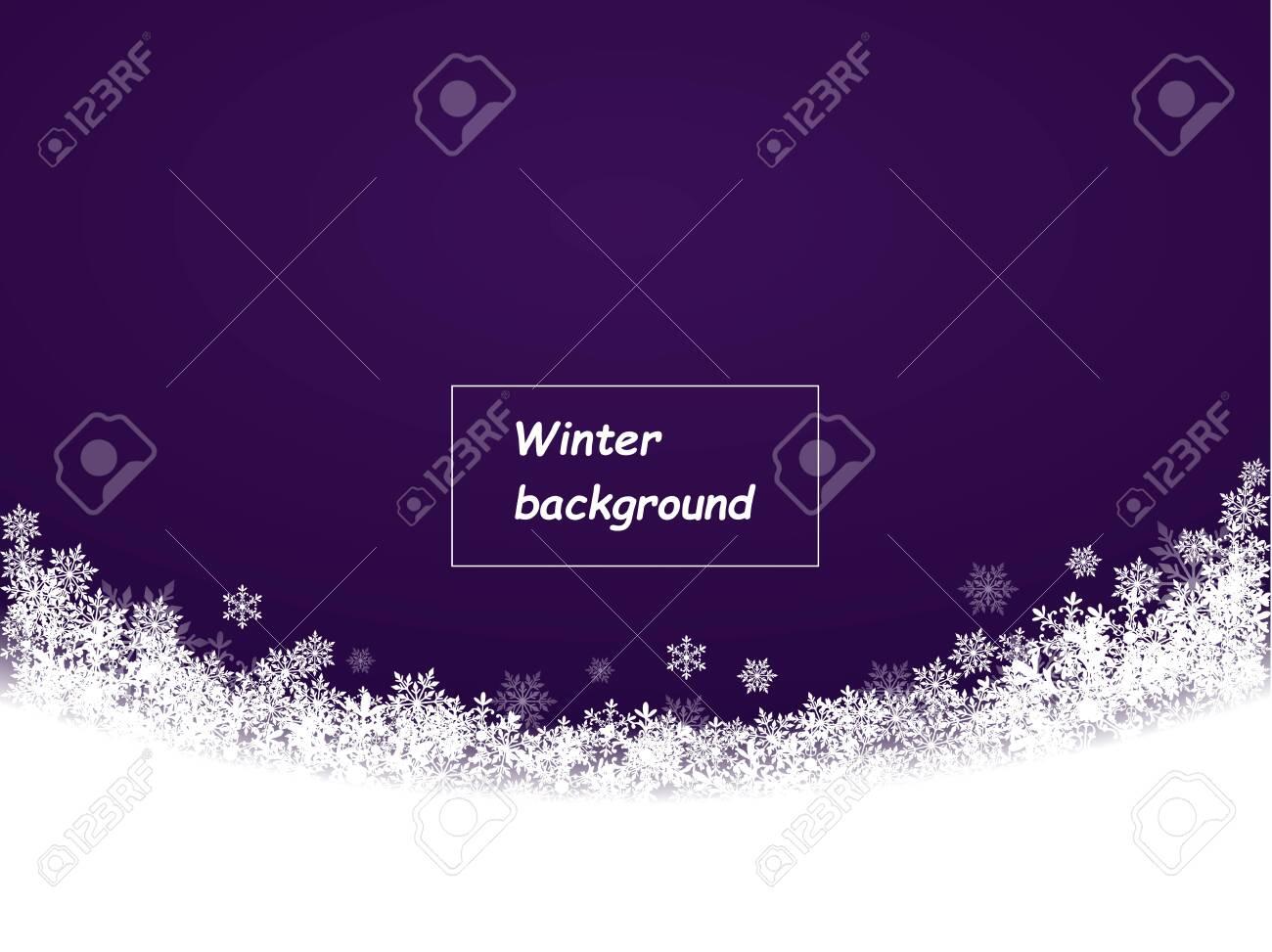 snowflakes beautifully fallen semicircle, dark purple background, winter background - 134780960