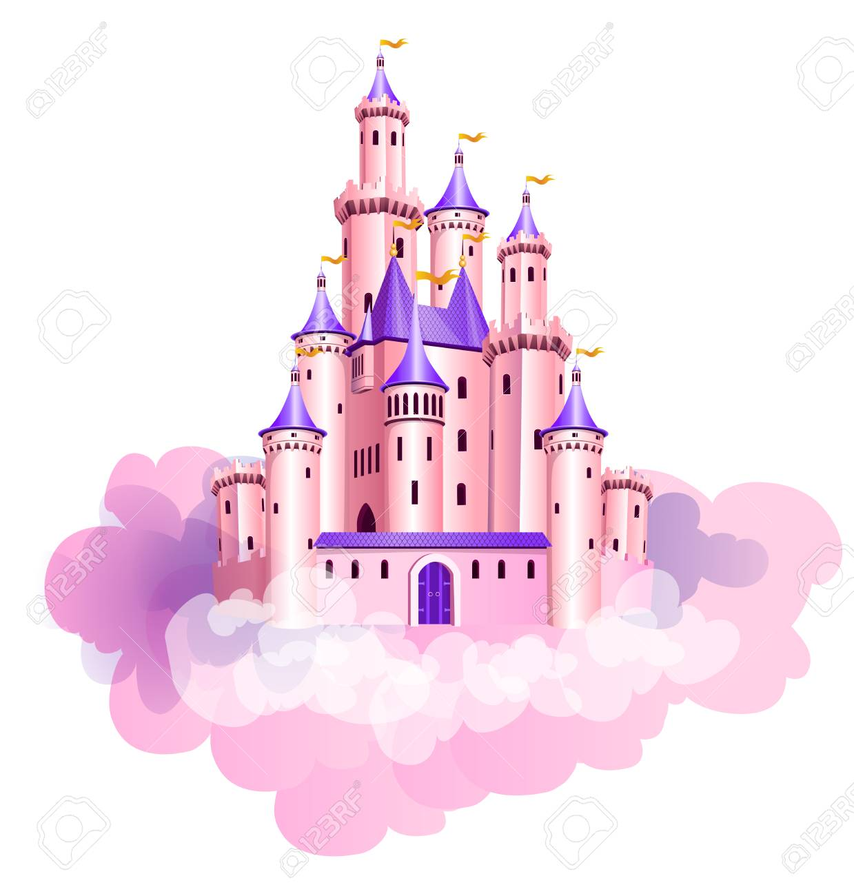 The vector illustration of pink princess magic castle in clouds. - 92577318