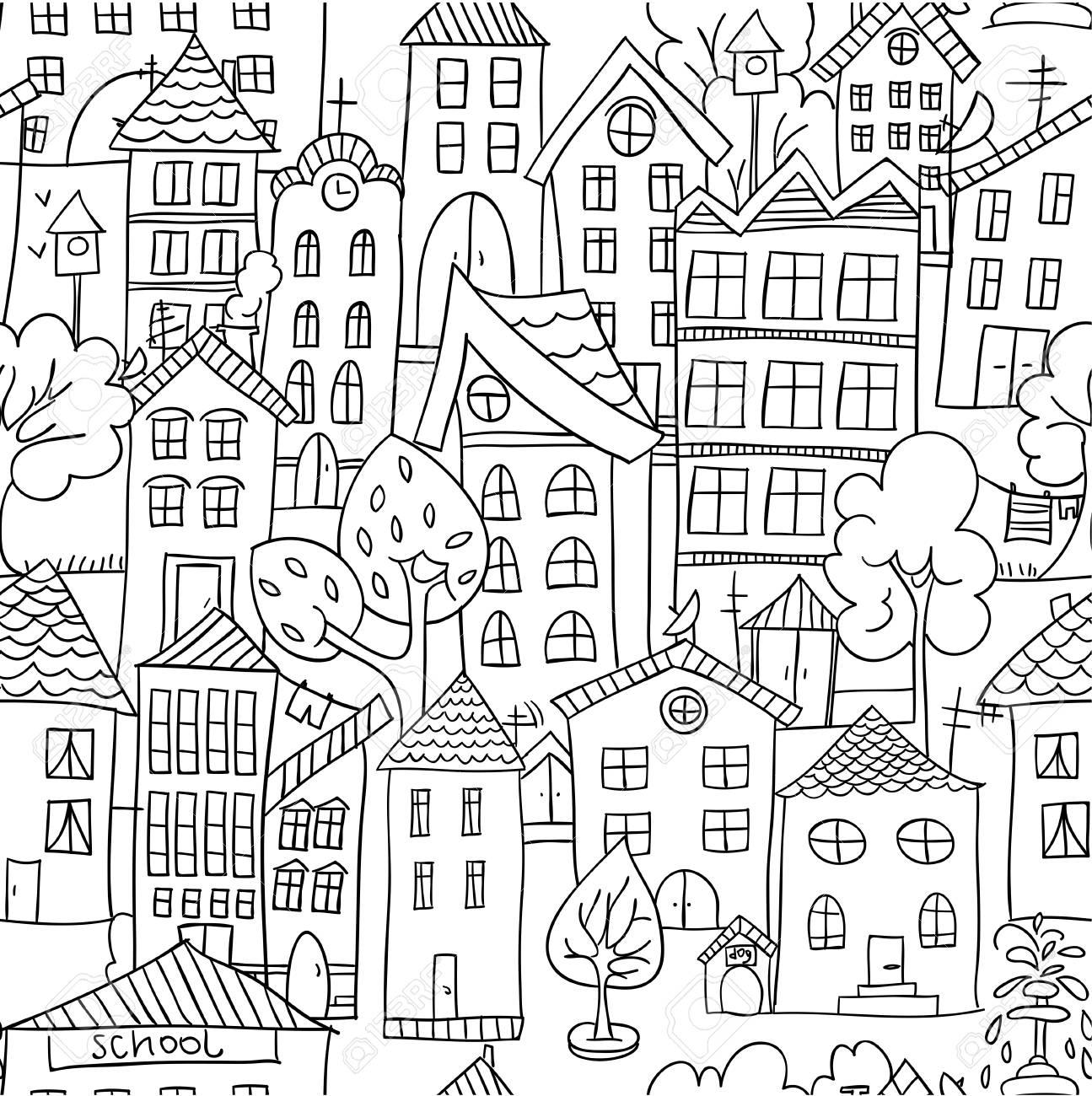 Vettoriale Modello Senza Soluzione Di Continuità Della Città