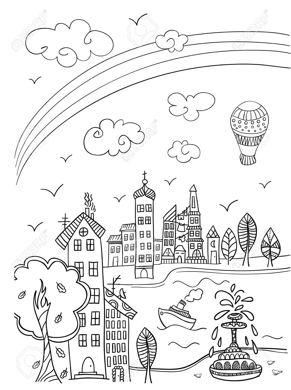 Town Street With Rainbow. Coloring Book Page In Doodle Style ...