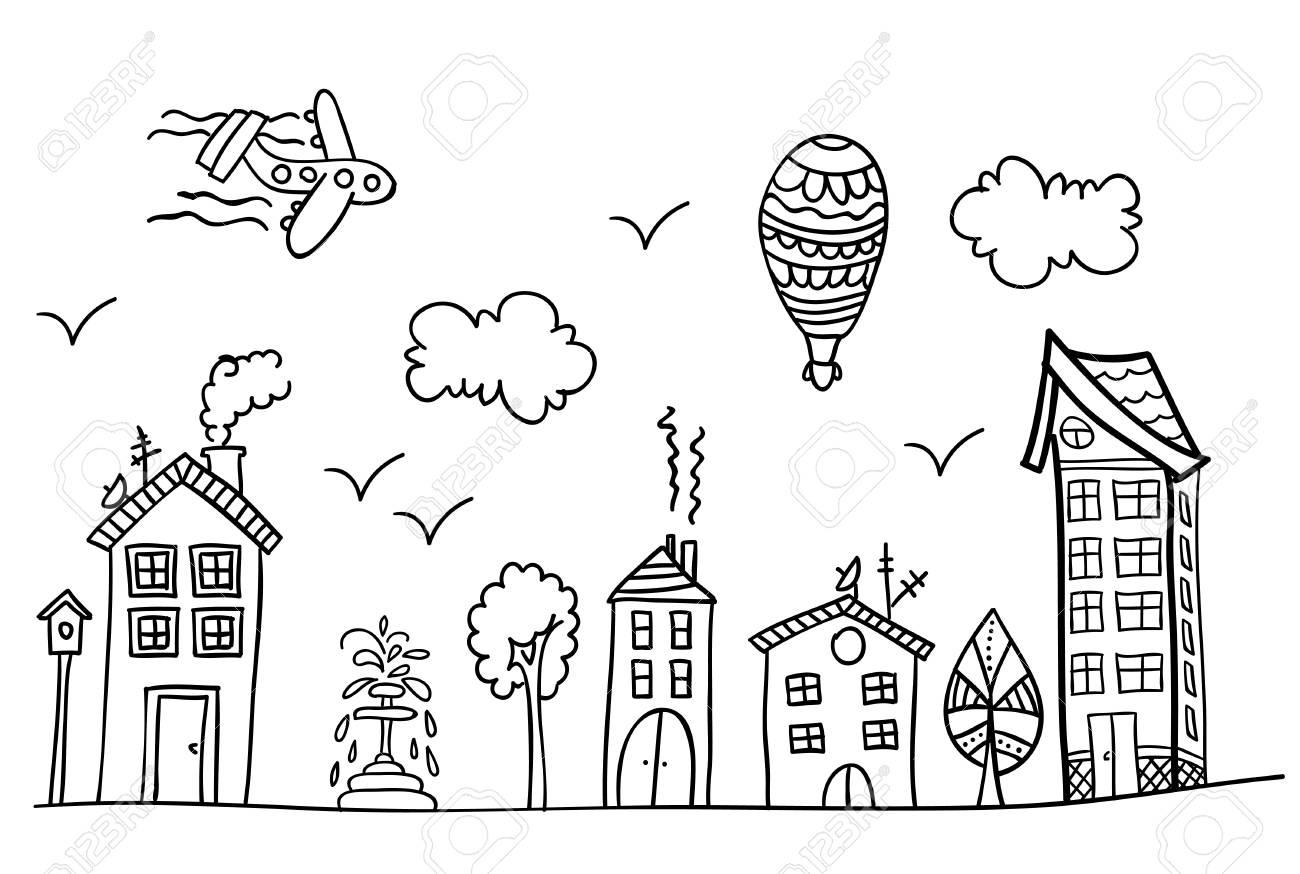 Boceto De La Calle De La Ciudad Página De Libro Para Colorear