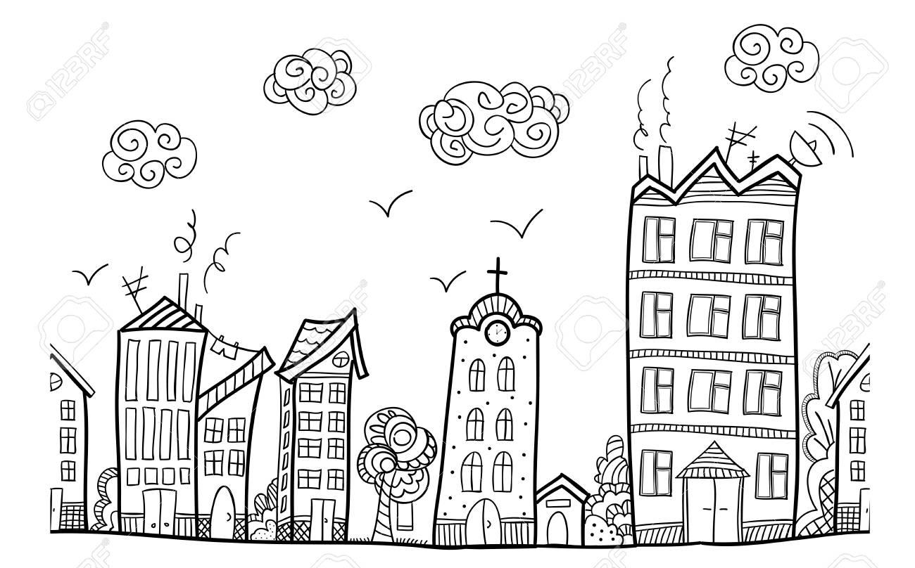 Calle De La Ciudad Ornamento Repetido Mano Dibujar La Página Para Colorear Libro