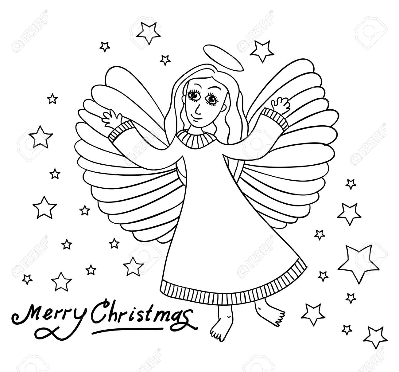 Christmas Card With Angal In Kids Style. Hands Draw Sketch. Black ...
