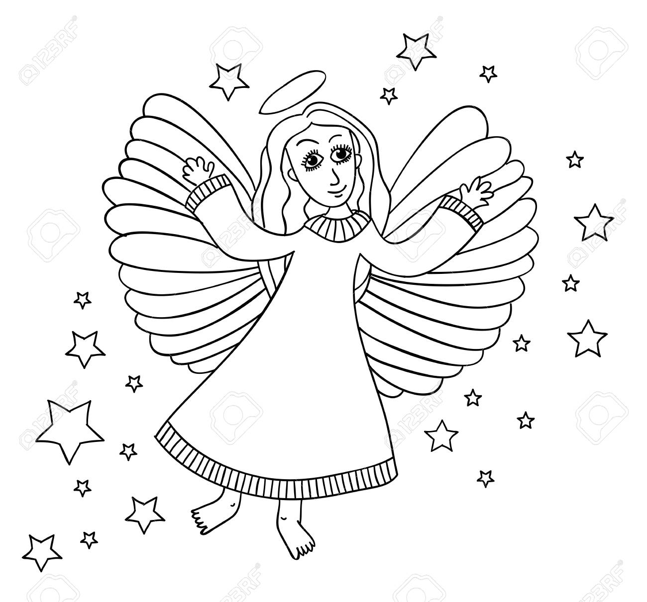 Sketch Of Angel With Stars. Page For Coloring Book. Hands Draw ...