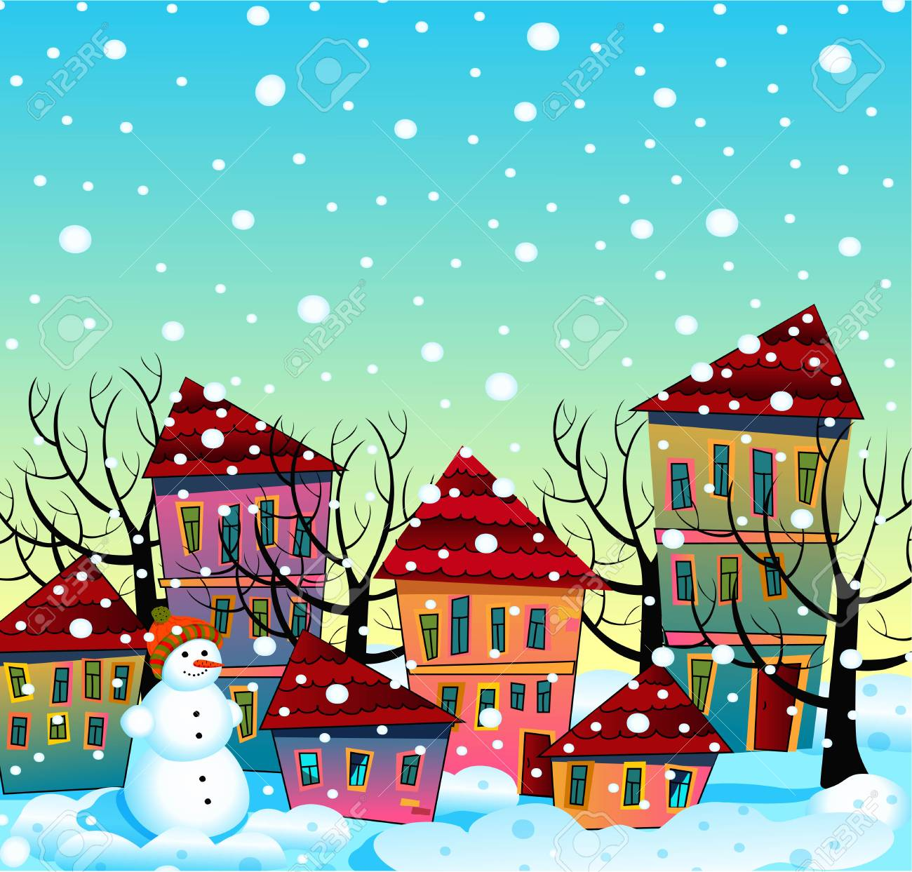 Christmas Background Clipart.Vector Christmas Background Snow Covered Town