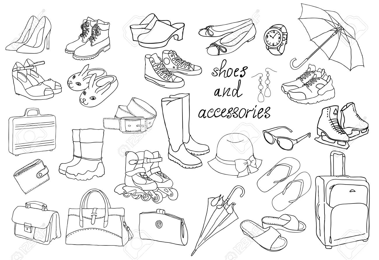 A large set of different types of shoes and accessories. Coloring..