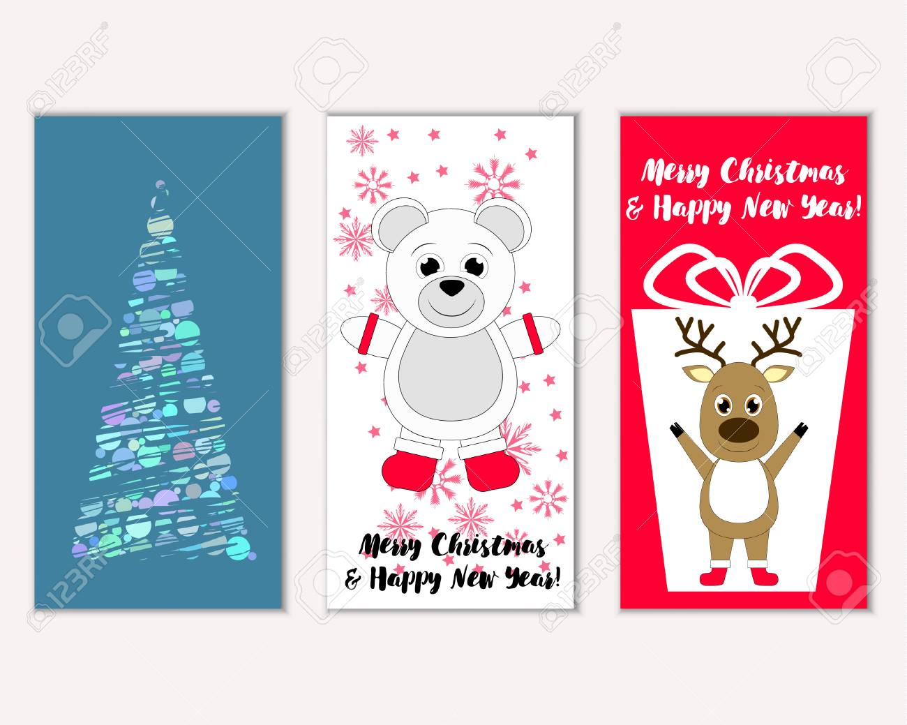 Vector Illustration Of Merry Christmas And Happy New Year Greeting